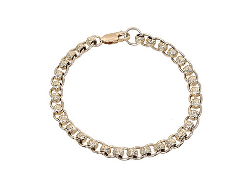 9ct Yellow Gold Patterned Rollerball Bracelet 13.7g