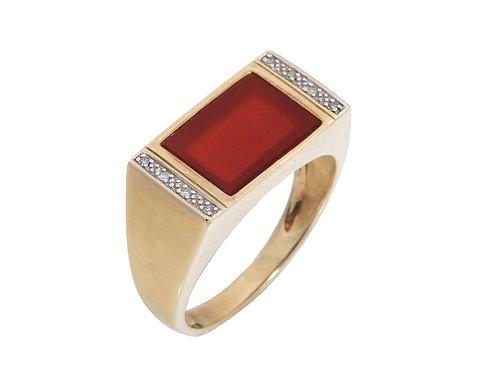 Gents 9ct Yellow Gold Carnelian & Diamond Ring