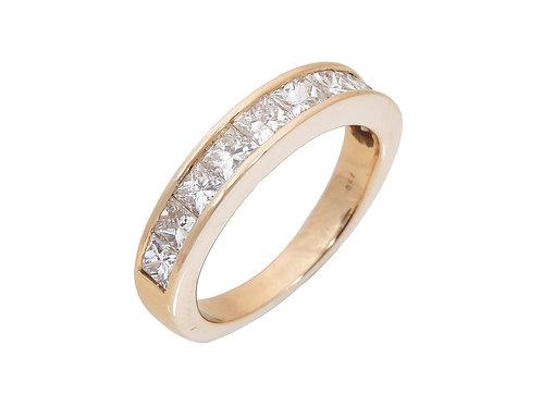18ct Yellow Gold Princess Cut Diamond Half Eternity Ring 1.50ct