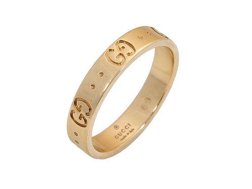 18ct Yellow Gold Gucci GG Ring Uk Size O
