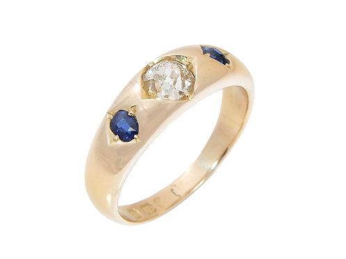 Antique 18ct Yellow Gold Diamond & Sapphire Ring