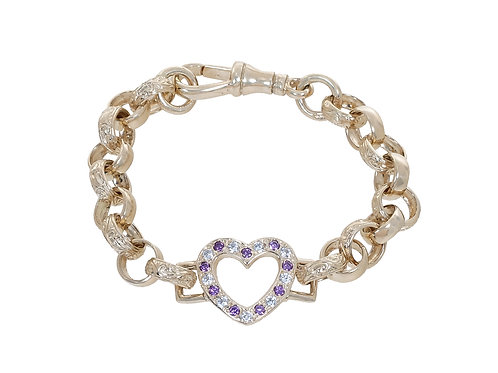 9ct Childrens CZ Heart Plain & Patterned Belcher Bracelet 14.7g