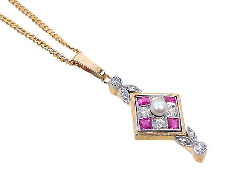 Art Deco Style 18ct Yellow Gold Diamond Ruby & Pearl necklace
