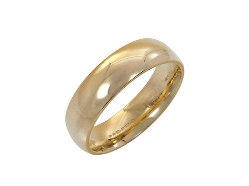 18ct Yellow Gold Gents Wedding Ring Uk Size U Width 6mm