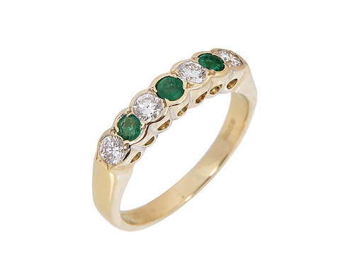 Vintage 18ct Yellow Gold Emerald & Diamond Half Eternity Ring
