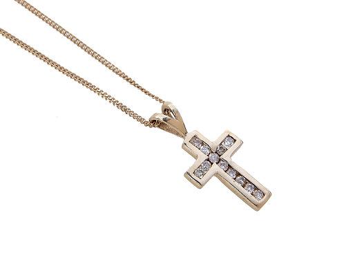 9ct Yellow Gold Diamond Cross & Chain. 0.24ct