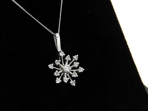 Vintage 9ct White Gold Snowflake Diamond Pendant & Chain