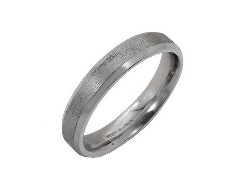Platinum Ladies Wedding Ring Size N Width 3.8mm Brushed Affect