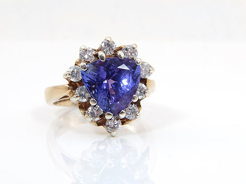 9ct Yellow Gold Trillion Cut Tanzanite & Diamond Dress Ring 2.55ct Total