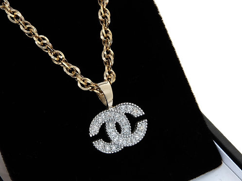 9ct Yellow Gold & Crystal Interlocking CC Pendant & Chain