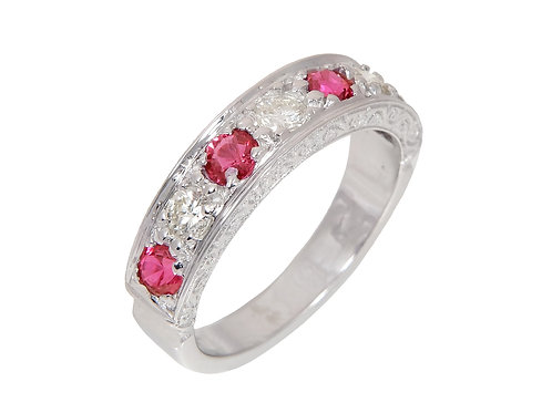 Vintage 18ct White Gold Ruby & Diamond Half Eternity Ring