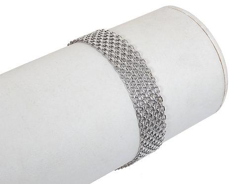 9ct White Gold Panther Link Bracelet 7.6g