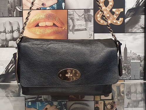 Mulberry large lily in Black Aged Leather
