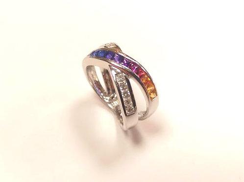14ct White Gold Diamond & Mixed Sapphire Ring