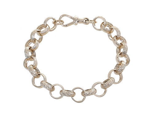 9ct Yellow Gold Plain & Patterned Belcher Bracelet 31.7g