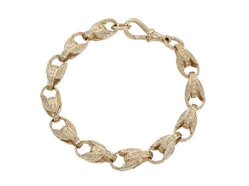 9ct Gold Patterned Tulip Bracelet 27.8g