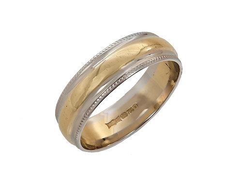 Ladies 18ct Two Tone Gold Wedding Ring Uk Size O