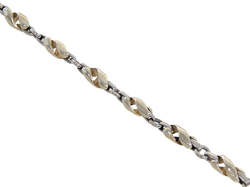 9ct Yellow and White Gold Fancy Link Chain 21.4g