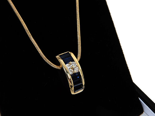 18ct Gold Slidder Sapphire & Diamond Necklace