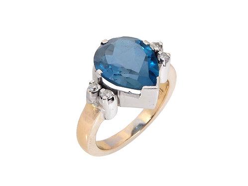 18ct Topaz & Diamond Statement Ring 4ct Plus