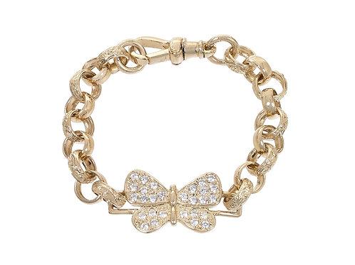 9ct Gold Childrens CZ Butterfly Belcher Bracelet 16.7g
