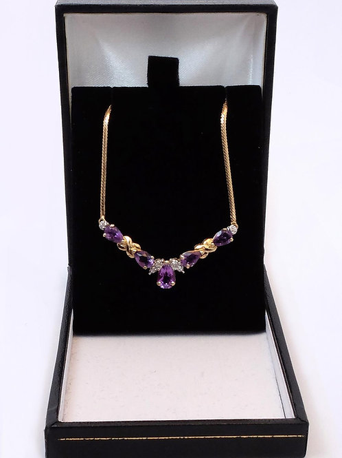 9ct Gold Amethyst & Diamond Necklace