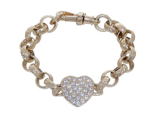 9ct Childrens CZ Heart Plain & Patterned Belcher Bracelet 15.3g