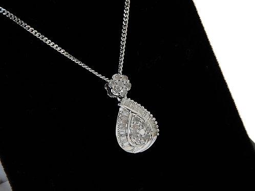 9ct White Gold Diamond Dropper Pendant & Chain 0.50ct
