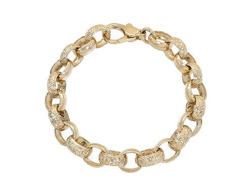 9ct Gold Oval Plain and Patterned Belcher Bracelet 37.6g