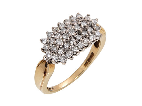 18ct Yellow Gold Diamond Cluster Ring 0.50ct