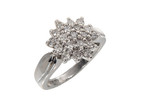 9ct White Gold Diamond Cluster Ring 0.50ct