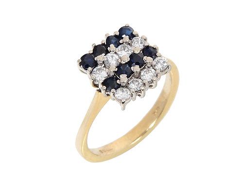 Vintage 18ct Yellow Gold Diamond & Sapphire Ring