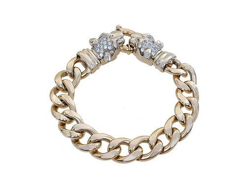 9ct Yellow Gold Panther Head Curb Bracelet 80g
