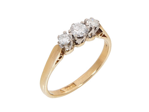 Vintage 18ct Yellow Gold Diamond Trilogy Ring 0.45ct