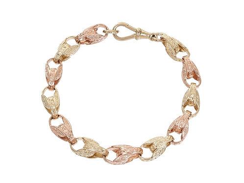 9ct Bi-Gold Patterned Tulip Bracelet 28.9g
