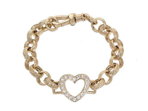 9ct Gold Childrens CZ Heart Belcher Bracelet 15.1g