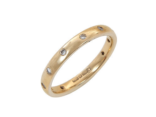 18ct Yellow Gold Full Eternity Diamond Ring Uk Size Q 3mm Wide
