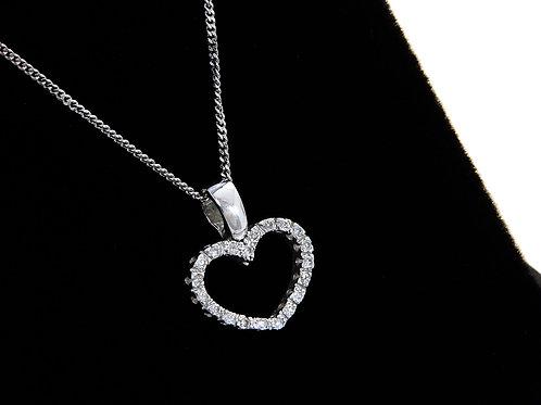 9ct White Gold Diamond Heart Pendant & Chain 0.10ct