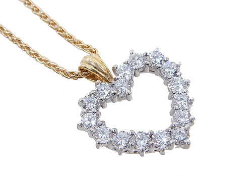 18ct Yellow Gold Diamond Heart Pendant & Chain 1.60ct