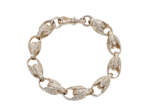 9ct Yellow Gold Patterned Tulip Bracelet 44g