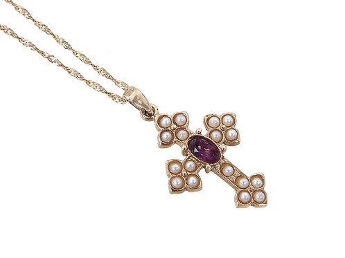 Vintage 9ct Yellow Gold Seed Pearl & Amethyst Cross & Chain