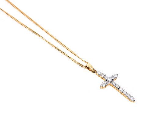 18ct Yellow Gold Diamond Cross & Chain 0.50ct