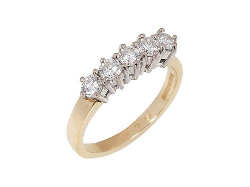 18ct Yellow Gold 5 Stone Diamond Ring 0.75ct