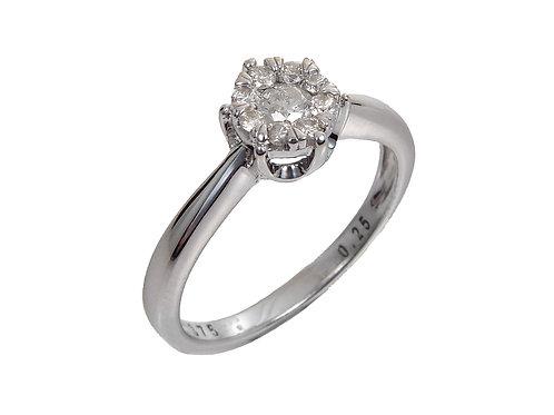 9ct White Gold Diamond Cluster Ring 0.25ct