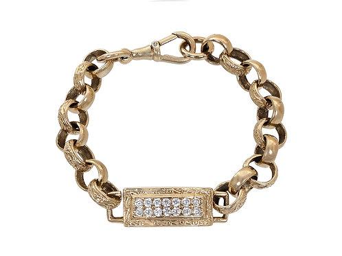 9ct Gold Children's CZ Tag Bracelet 15g