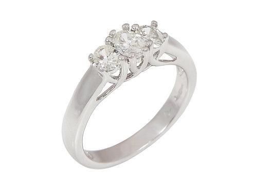 14ct White Gold Diamond Trilogy Ring 0.74ct