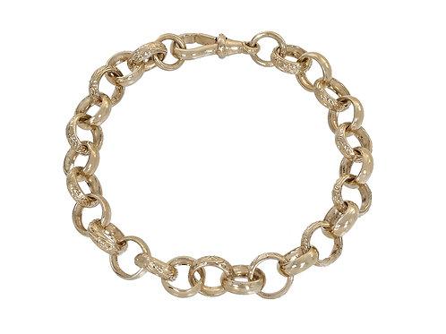 9ct Gold Plain and Patterned Belcher Bracelet 26.4g