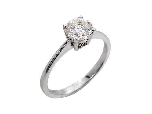 18ct White Gold Diamond Solitaire Ring 0.91ct