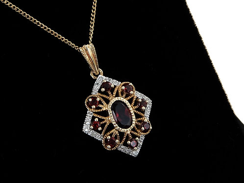 9ct Yellow Gold Garnet & Diamond Pendant & Chain