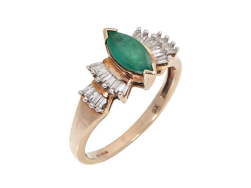 Vintage 9ct Yellow Gold Emerald & Diamond Ring